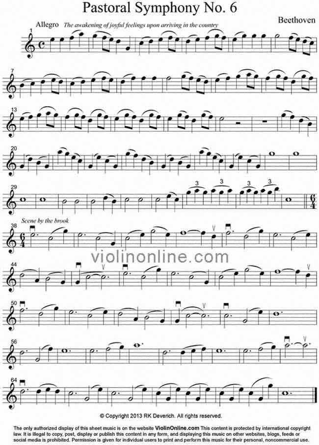 Violin Online Free Violin Sheet Music - Beethoven's Pastoral ...