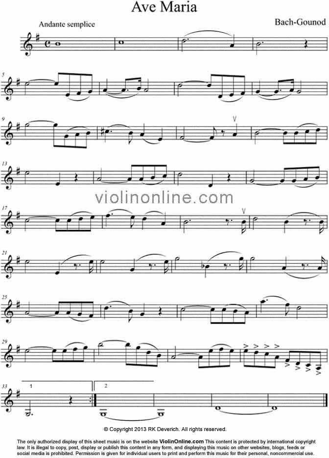 Piano ave maria sheet music piano : Violin Online Free Violin Sheet Music - Ave Maria from a Theme by ...